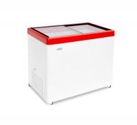 Ларь морозильный со стеклянной крышкой СНЕЖ МЛП 350 красный
